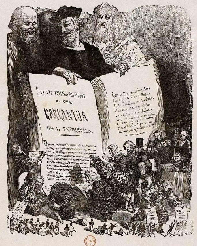 Rabelais présentant Gargantua, Gustave Doré, frontispice de l'édition de 1854, Gallica / Bibliothèque Nationale de France.