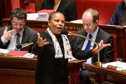 Christiane Taubira pendant une séance de discussions a l'Assemblée Nationale sur le projet de loi pour le Mariage pour tous