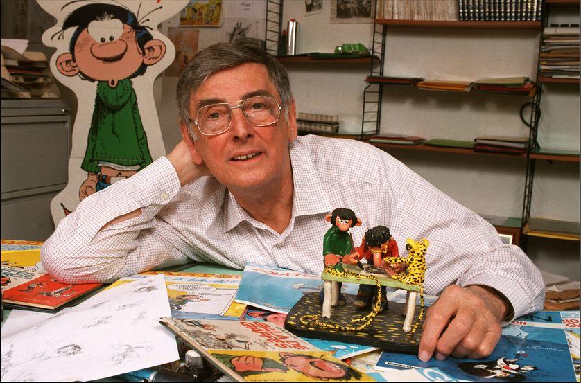 André Franquin dans son bureau en Belgique en 1996