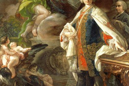 Détail du portrait de Farinelli par Carlo Brosch, tableau conservé au Civico Museo Bibliografico Musicale de Bologne