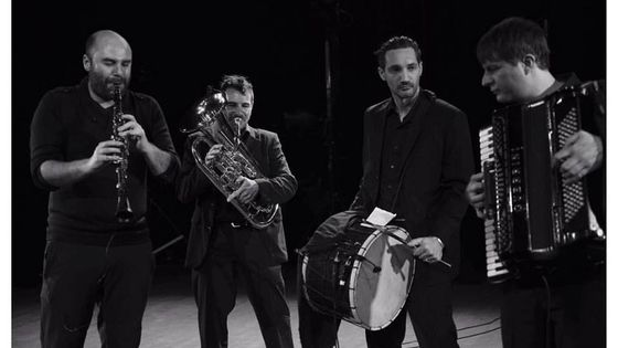 "Yom, Benoit Giffard, Maxime Zampieri, Dario Ivkovic. Tournage du film ""Back to the Klezmer"" . Banlieues Bleues 2014"