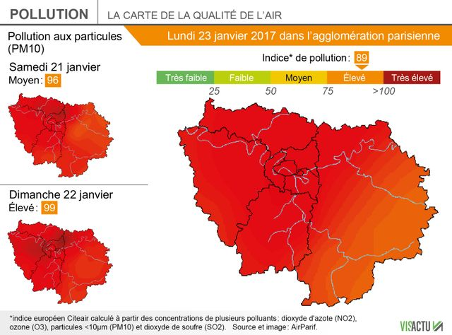 La situation de la pollution de l'air samedi, dimanche et lundi