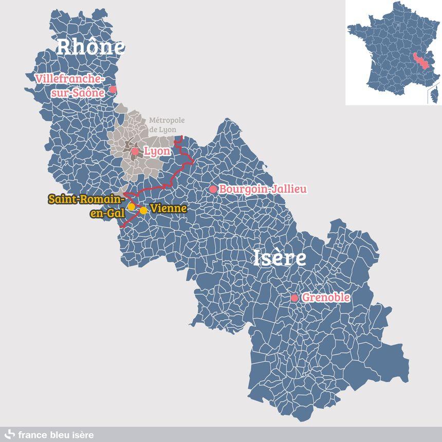 Saint-Romain-en-Gal, dans le Rhône, et Vienne, en Isère