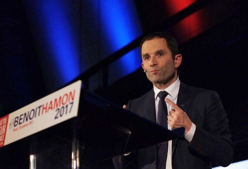 Benoît Hamon lors d'un meeting de campagne (18/01/2017)