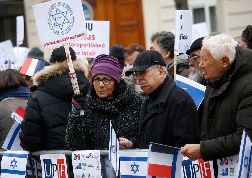 Manifestation devant l'Ambassade d'Israël contre l'initiative française pour le Proche-Orient