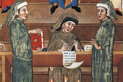 Miniature du role des notaires de Perouge en Italie au 15e siècle
