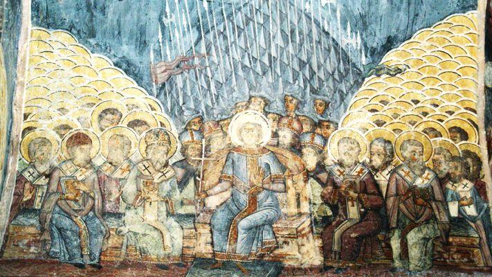 Premier concile de Constantinople, mur peint dans l'Église de Stavropoleos, Bucarest