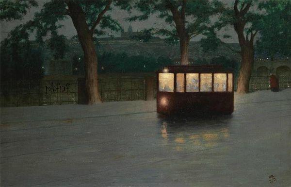 Tramway à Prague de Jakub Schikaneder