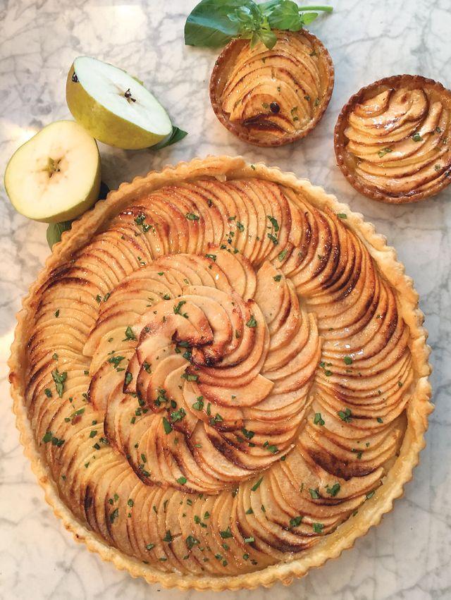 Tarte aux pommes au basilic
