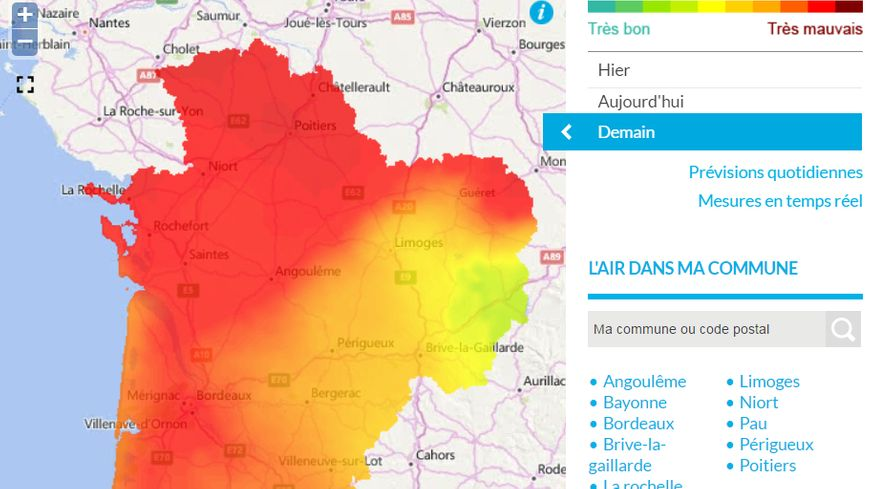 Carte Pollution Bordeaux.La Qualite De L Air Se Degrade Dans Les Deux Charentes A Cause De La