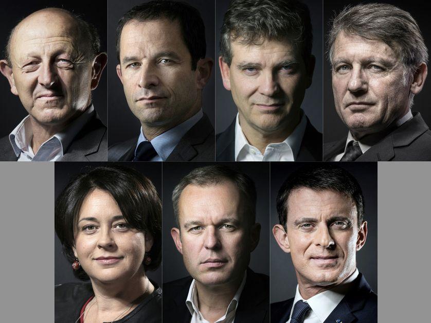 De gauche à droite et de haut en bas : Jean-Luc Bennahmias, Benoît Hamon, Arnaud Montebourg, Vincent Peillon, Sylvia Pinel, François de Rugy et Manuel Valls