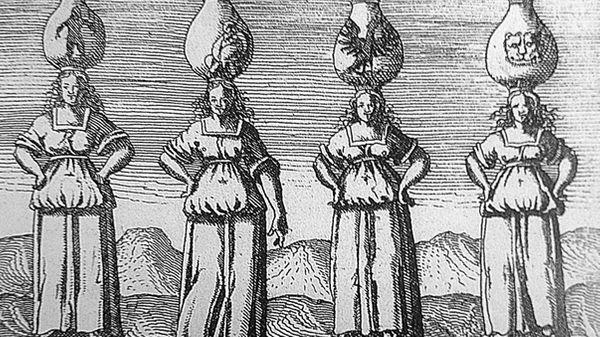 Représentation des quatre éléments (La Terre, L'Eau, L'Air et Le Feu), in Viridarium chymicum, D. Stolcius von Stolcenberg (1624) - DP