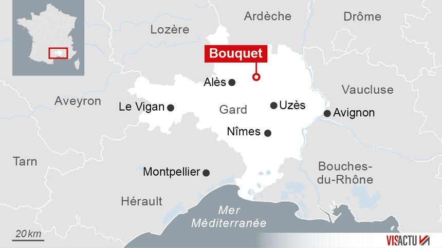 Localisation de Bouquet, dans le Gard