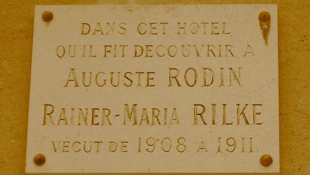 Plaque en hommage à Rainer Maria Rilke, Musée Rodin, Paris.