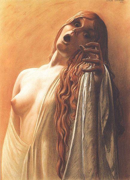 """Carlos Schwabe : Étude (1906) pour """"La vague"""""""