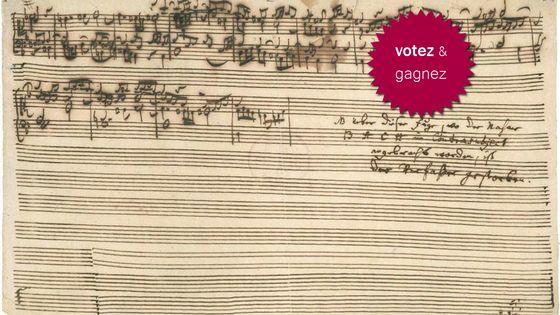 Manuscrit de la fugue inachevée de JS Bach