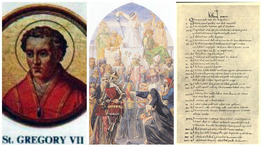 Image de Grégoire VII provenant de la Basilique Saint-Paul-hors-les-Murs à Rome /Spirit of Justice by Ford Madox Brown (1845) / Dictatus papæ, archives du Vatican