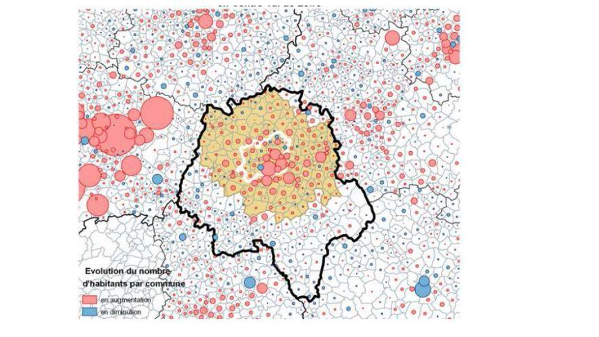 Evolution de la population communale entre 2009 et 2014. En jaune, la notion d'aire urbaine