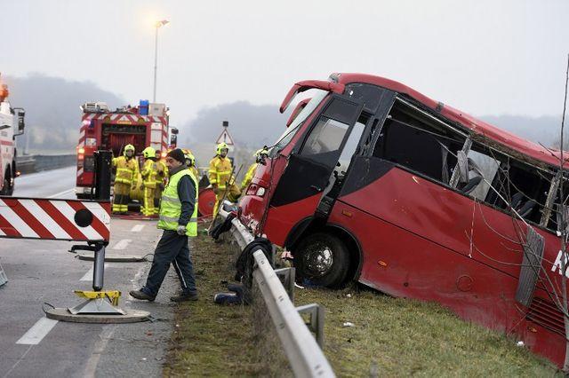 L'autocar accidenté près de Charolles