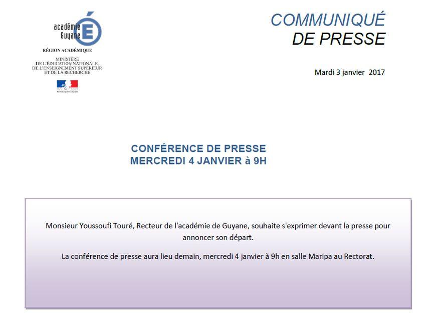 Le communiqué de presse annonçant le départ de Youssoufi Touré