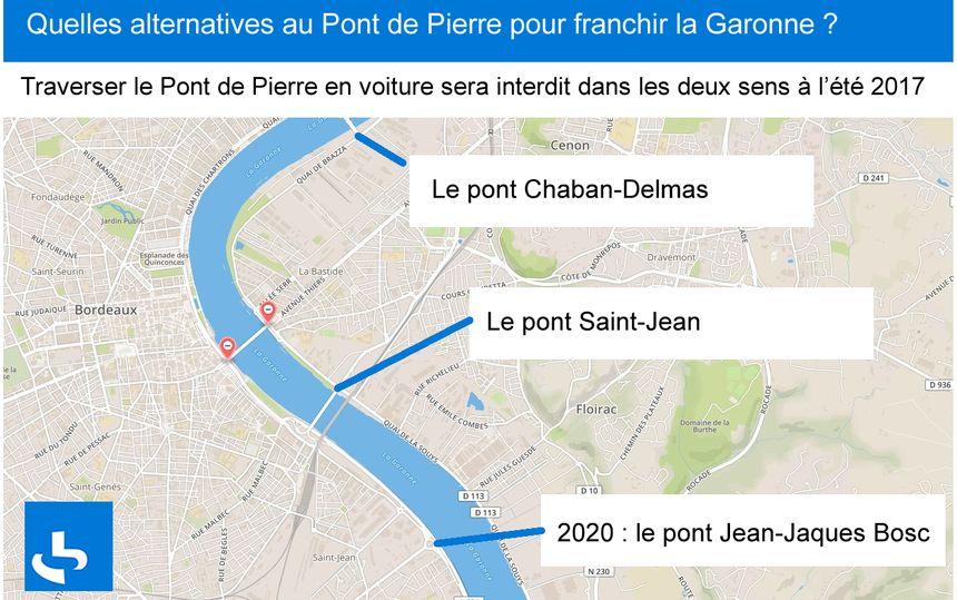 Les alternatives au Pont de Pierre pour traverser en voiture