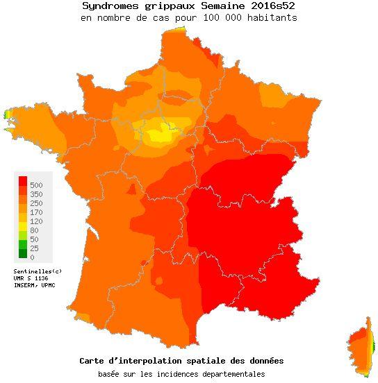 La carte de France de la grippe établie par le réseau de médecins Sentinelle lors de la dernière semaine de 2016