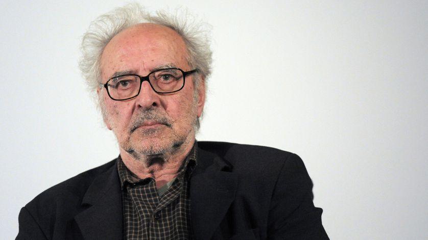 """Portrait de Jean-Luc Godard à la présentation de """"Film socialisme"""" au Cinéma des Cinéastes à Paris le 18 juin 2010."""