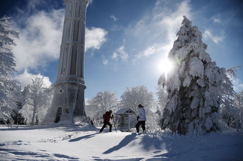La neige a recouvert la commune de Belmont dans le département du Bas-Rhin, en région Grand Est.