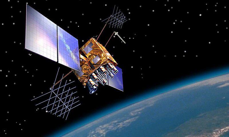 Vue d'artiste d'un satellite GPS-IIRM en orbite