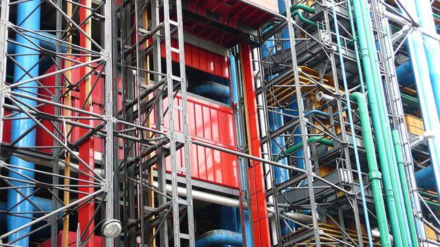 Le Centre Pompidou vu de la rue Beaubourg