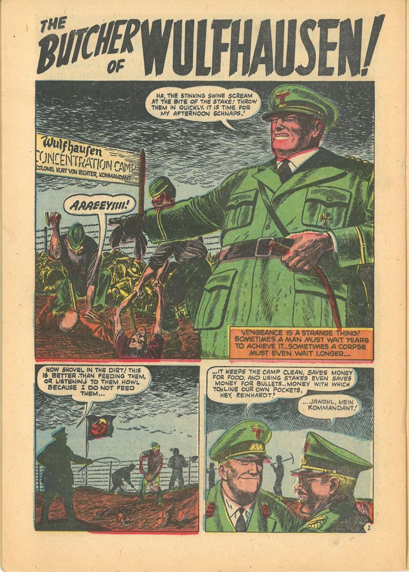 "Kent Blake of the Secret Service # 14 : ""The Butcher of Wulfhausen"", de Sam Kweskin (dessin et encre), Marvel, 1953"