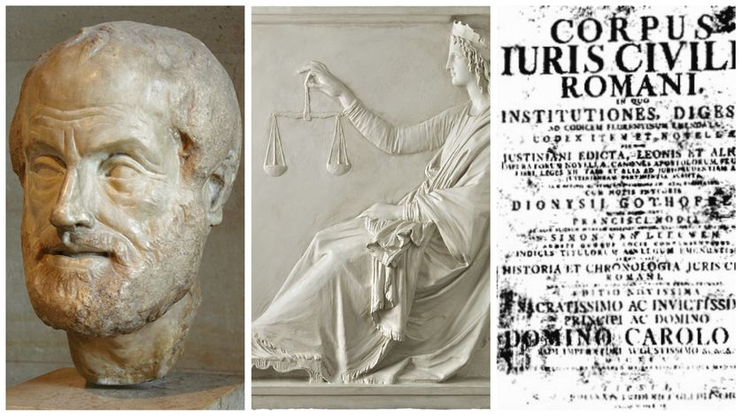 Aristote par Lysippe, copie romaine (période impériale) d'un bronze, Musée du Louvre / Artgate Fondazione Cariplo - Allegoria della Giustizia, par Canova, 1792, Corpus iuris civilis