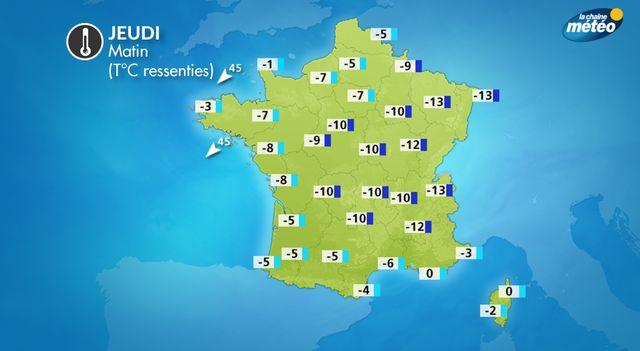 La carte des températures ressenties ce jeudi matin