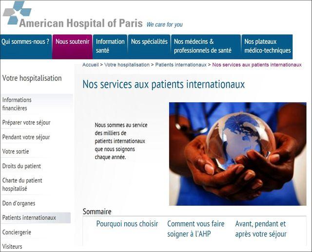 Capture d'écran du site internet de l'hôpital américain de Paris https://www.american-hospital.org/, 5 janvier 2017