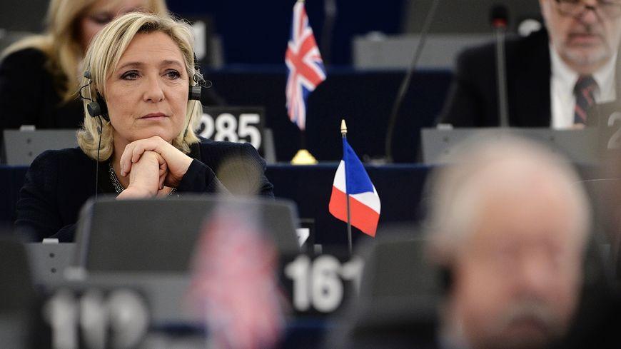 Marine Le Pen au Parlement européen, à Strasbourg.