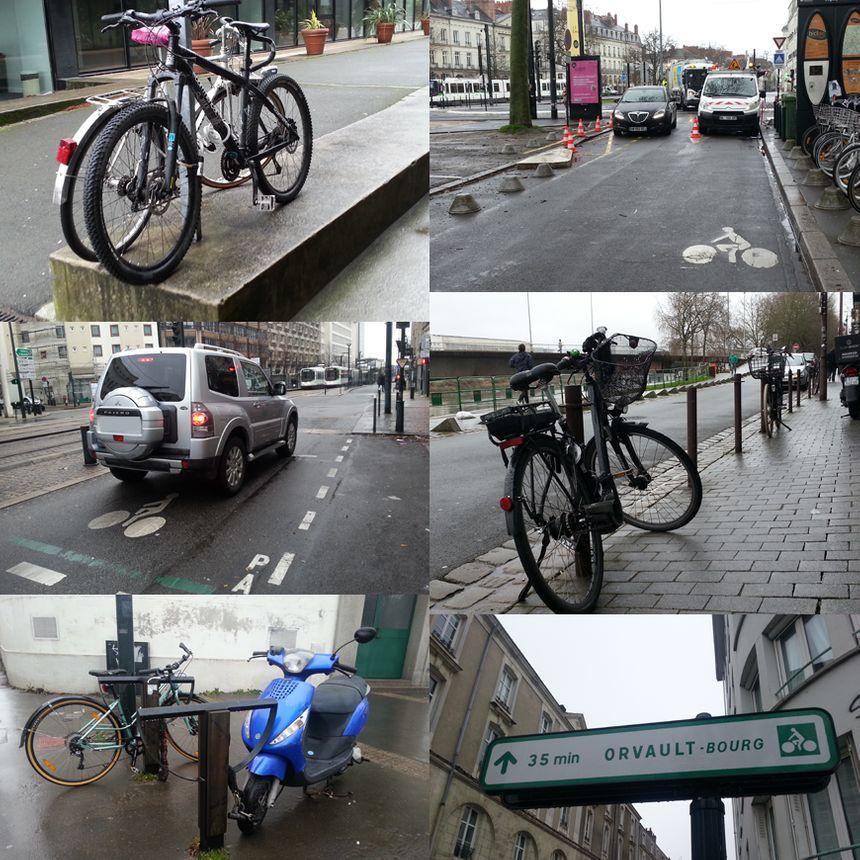 Inventaire de ce qui pourrit la vie du cycliste nantais : appui-vélo inexistant ou occupé par un deux-roues motorisé, voiture encombrant la piste cyclable, sas-vélo ignoré par les automobilistes et panneaux signalétiques trop rares.