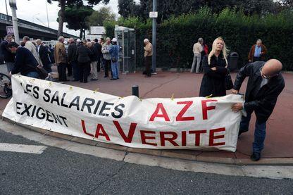 Manifestation des salariés d'AZF en novembre 2011 jour d'ouverture du procès en appel.