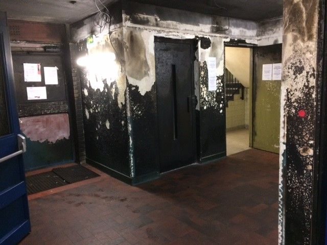 les dégâts de l'incendie au Foyer de Travailleurs Migrants de la rue Nationale