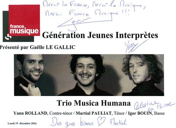 Livre d'or Trio Musica Humana