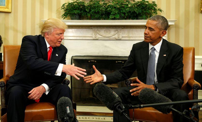 Donald Trump reçu par le président Barack Obama à la Maison Blanche à Washington, Etats-Unis.