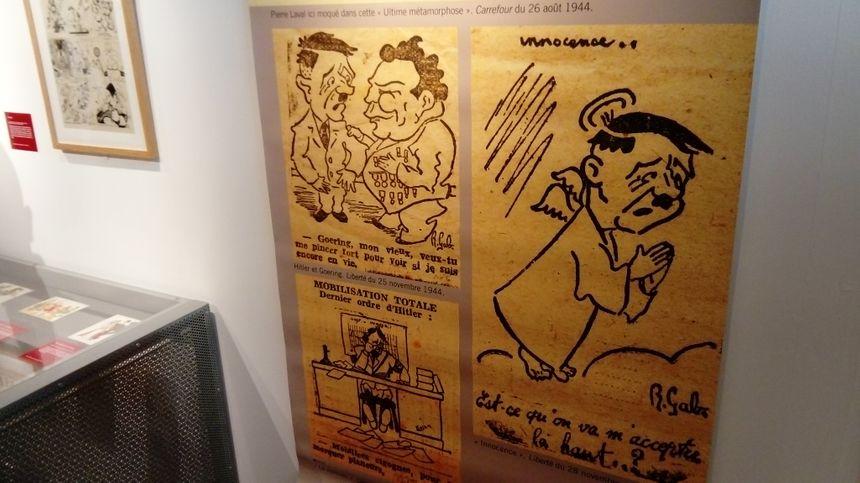 Des dizaines de dessins et de caricatures de la période 39-45 sont affichées au sous-sol du musée.