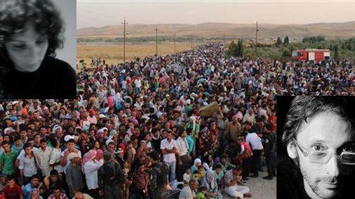 Silvia Borzelli et Geoffroy Jourdain et migrants syriens