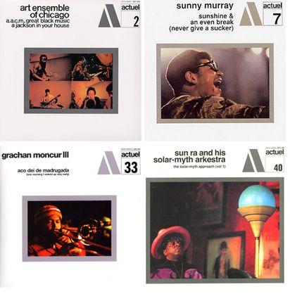 Quatre des 53 albums numérotés et édités dans la Série BYG/Actuel de Jean Karakos