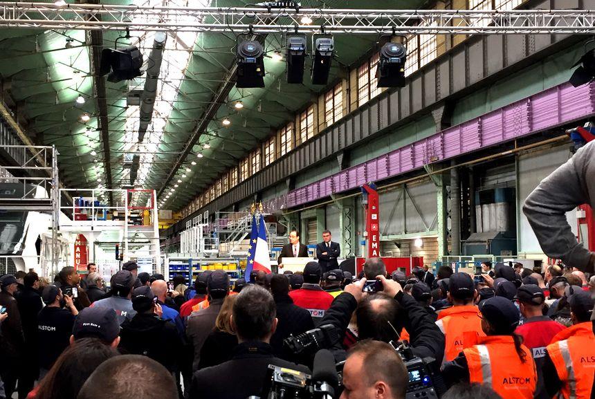 François Hollande devant les salariés d'Alstom