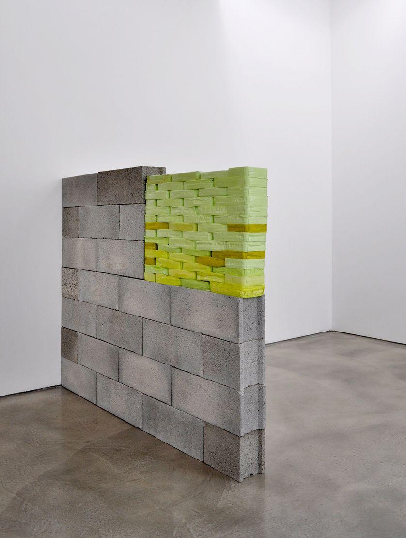 L'épaisseur du mur 2014-2015 Briques de peinture acrylique séchées, parpaings 134x174x15 cm