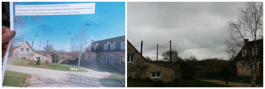 Le gérant du gîte Les Fonteneilles à Bouesse a fait un photo montage pour visualiser les éoliennes. A droite, un vol de grues à l'endroit même ou pourraient être implantées les éoliennes.