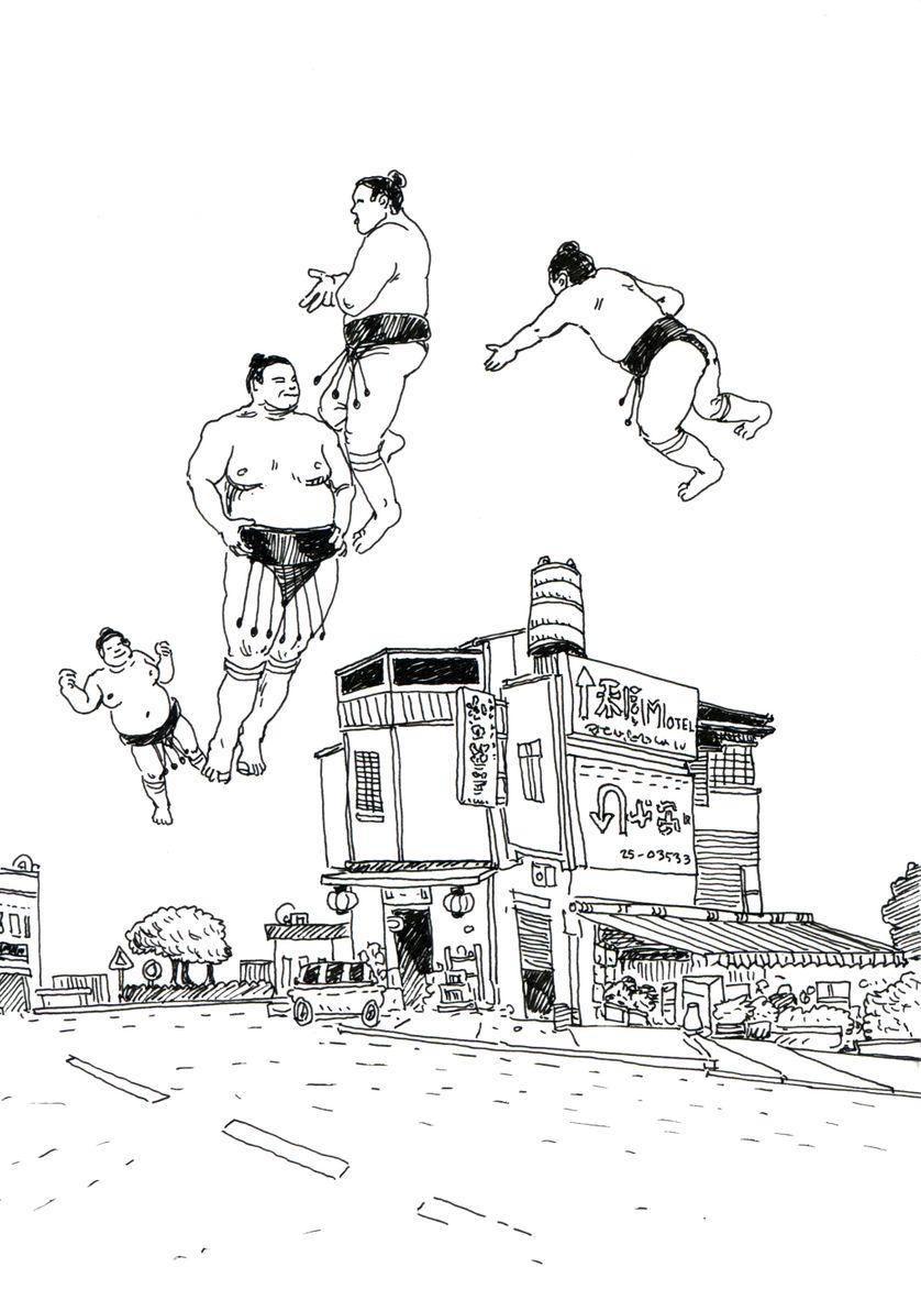 """Un des 500 dessins de Damien MacDonald présentés à l'exposition """"Les délices"""" à la galerie 24B à Paris"""