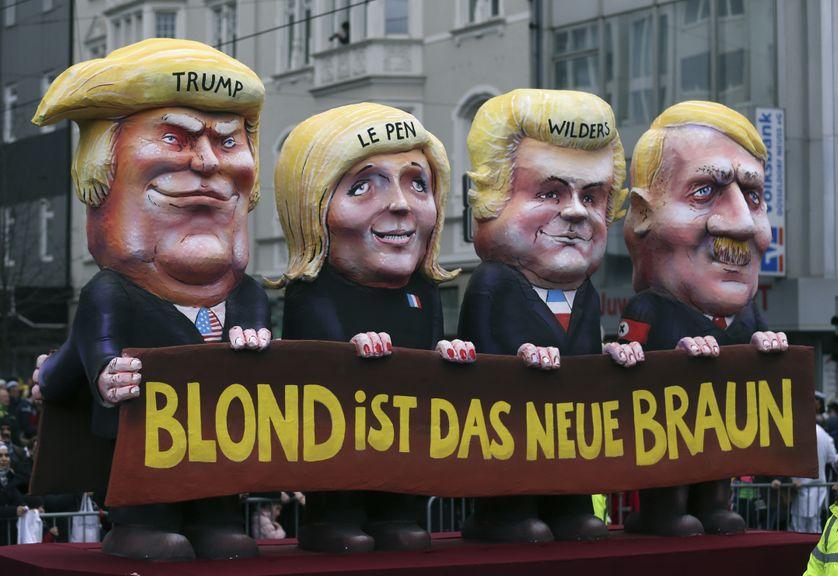 Caricatures de Donald Trump, Marine Le Pen, Geert Wilders et Adolf Hitler, lors du carnaval de Duesseldorf