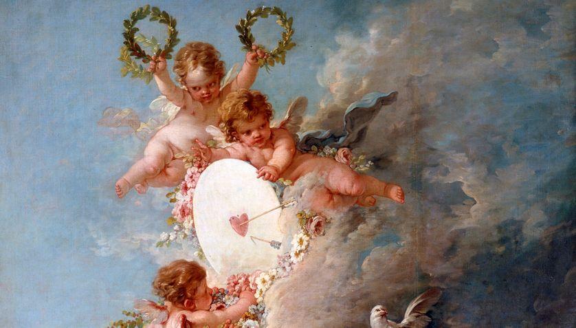 """""""La cible d'amour"""" Detail des anges. Peinture de Francois Boucher (1703-1770)"""