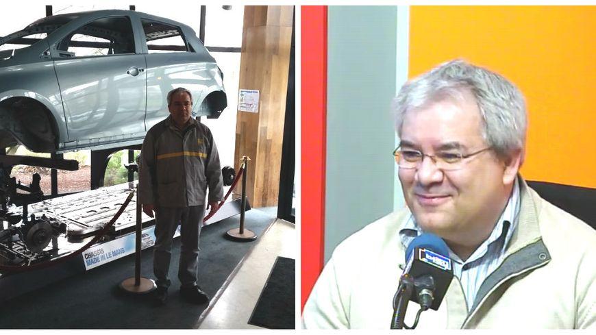 Javier Bernaldez le directeur de Renault au Mans dans les studios de France Bleu Maine et devant le chassis d'une zoé